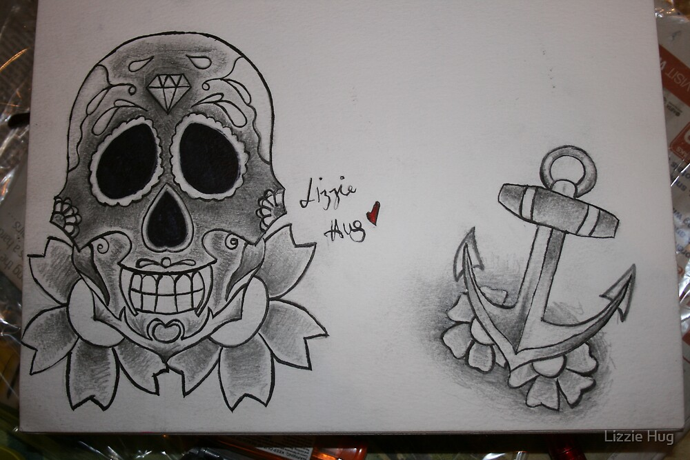 Sugar Skull and Anchor Design by Lizzie Hug