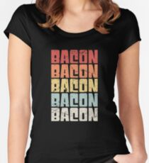 Retro Vintage BACON Design Women's Fitted Scoop T-Shirt
