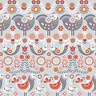 Muster nordischen Stil mit Blumen und Vögeln. Volkskunst. von Skaska