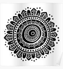 Mandala - White on Black Poster