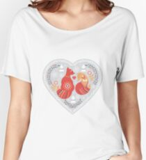 Scandinavian cute folk pattern with fox and flowers. Patterned heart. Folk art. Women's Relaxed Fit T-Shirt