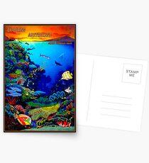 """QUEENSLAND AUSTRALIA"" Great Barrier Reef Travel Print Postcards"