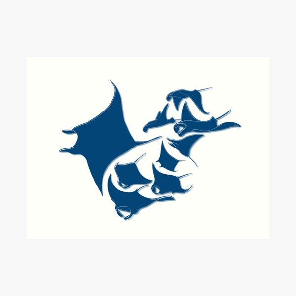 Blue Manta Rays Art Print