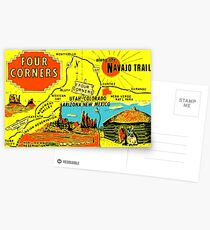 Four Corners Monument Vintage Travel Decal Postcards