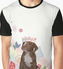 Pitbull with Flowers Graphic T-Shirt