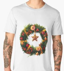 Chistmas Wreath with yellow ribbons and golden star Men's Premium T-Shirt