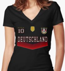 Germany Deutschland Soccer Design with number 10 Women's Fitted V-Neck T-Shirt