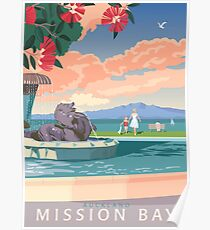 Mission Bay Fountain with Pohutukawa Poster