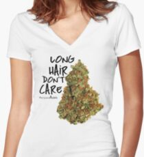 Long Hair Don't Care Women's Fitted V-Neck T-Shirt