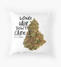 Long Hair Don't Care Throw Pillow