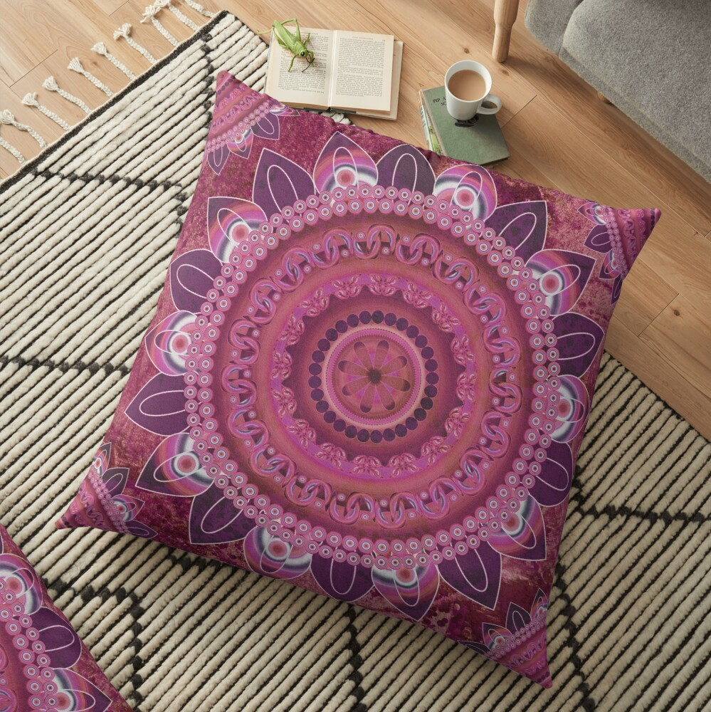 Rose Sea Mandala Floor Pillow