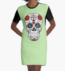 Day of the Dead Sugar Skull T-Shirt Graphic T-Shirt Dress
