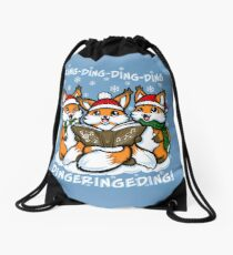 """""""What does the Fox Sing""""  (sticker) Drawstring Bag"""