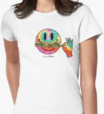 Smiley Weedstache Women's Fitted T-Shirt