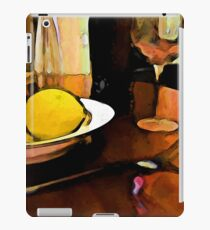 Still Life with a Lemon, Wine, a Glass and a Fork iPad Case/Skin