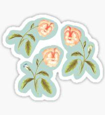 Pansy Meadow, Pfirsich Orange und Grün Sticker