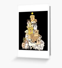 Merry Christmas Dog Tree Montage Cute Puppy Lover Greeting Card