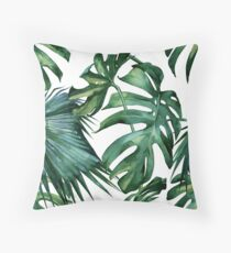 Classic Green Tropical Monstera Jungle Palm Leaf Print Throw Pillow