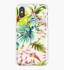 Humming bird, flowers and leaves on white tropical background iPhone Case/Skin