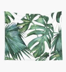 Classic Green Tropical Monstera Jungle Palm Leaf Print Wall Tapestry
