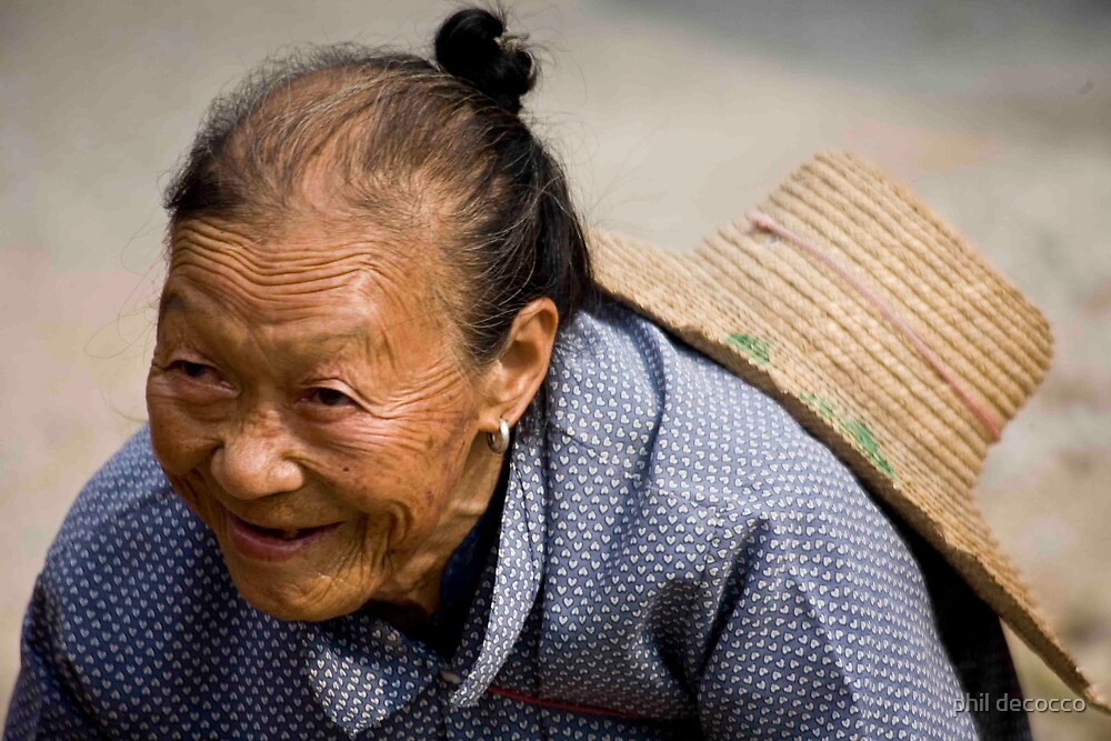Happy Old Face of China by phil decocco