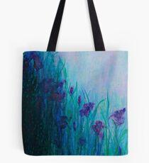 Iris on riverbank Tote Bag