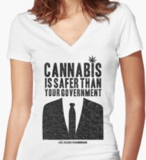 Cannabis is Safer Than Your Government Women's Fitted V-Neck T-Shirt