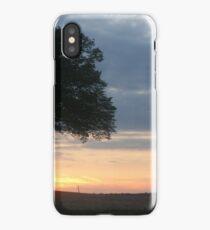 Tree at sunset on Cheddington Hill iPhone Case/Skin