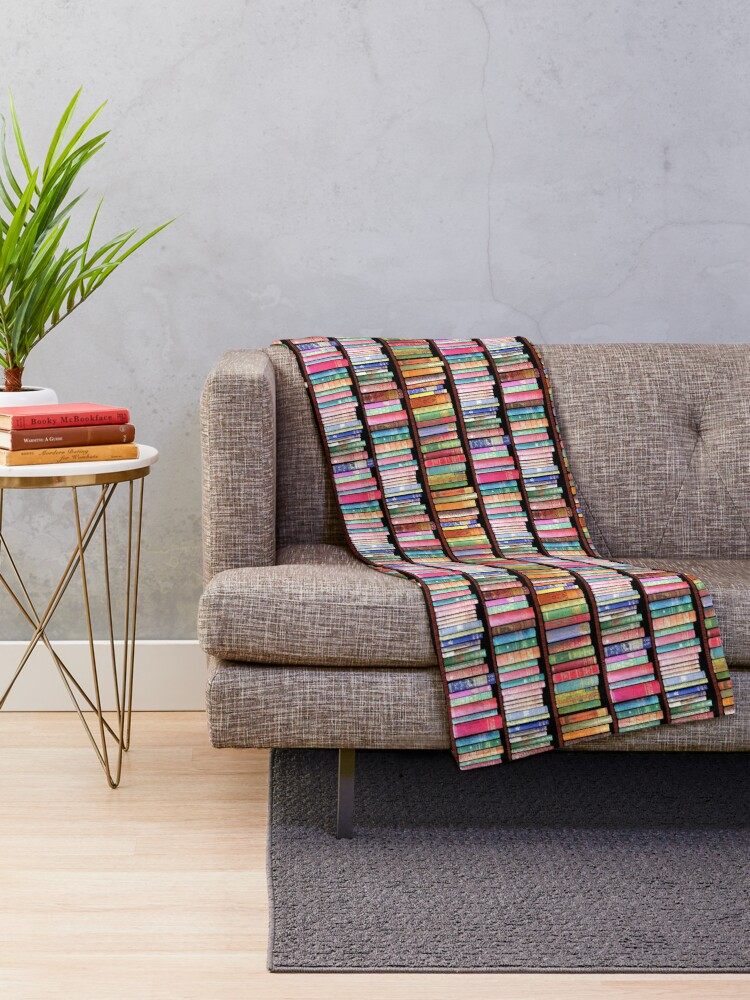 Alternate view of Bookworm Antique books Throw Blanket