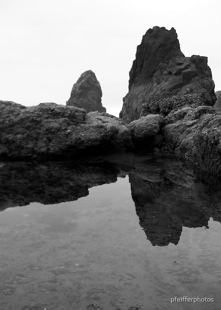 Haystack Rocks (Black & White) by pfeifferphotos