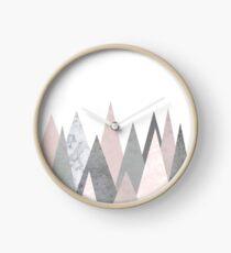 blush marble gray geometric mountains Clock
