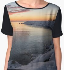 Small Cove Pink and Snowy Dawn Women's Chiffon Top
