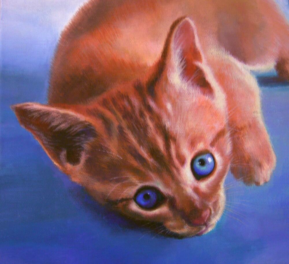 Cat on Blue by Koyomi Waki