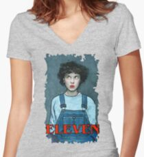 Eleven from Stranger Things Women's Fitted V-Neck T-Shirt