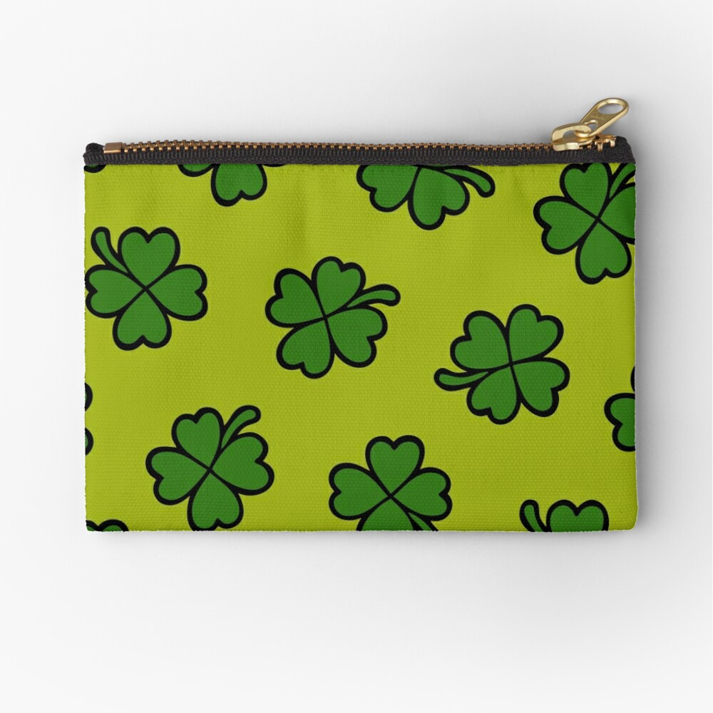 Lucky Four Leaf Clover Pattern Zipper Pouch