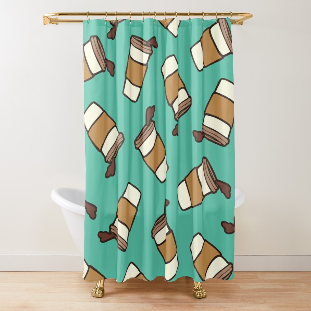 Take it Away Coffee Pattern Shower Curtain