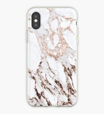 White Gray Rose Gold Copper Metallic Abstract Marble Stone Glitter Carrara Luxury Elegant  Minimal  iPhone Case