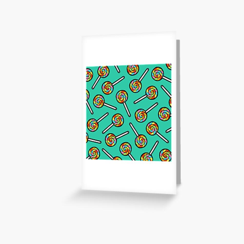 Rainbow Lollipop Pattern Greeting Card