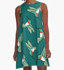 Hummingbird Pattern  A-Line Dress