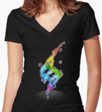 Mega evolution symbol - Charizard X Women's Fitted V-Neck T-Shirt