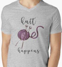 Funny Knitting Shirt Knit Happens Men's V-Neck T-Shirt