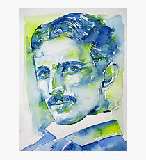 NIKOLA TESLA - watercolor portrait.7 Photographic Print