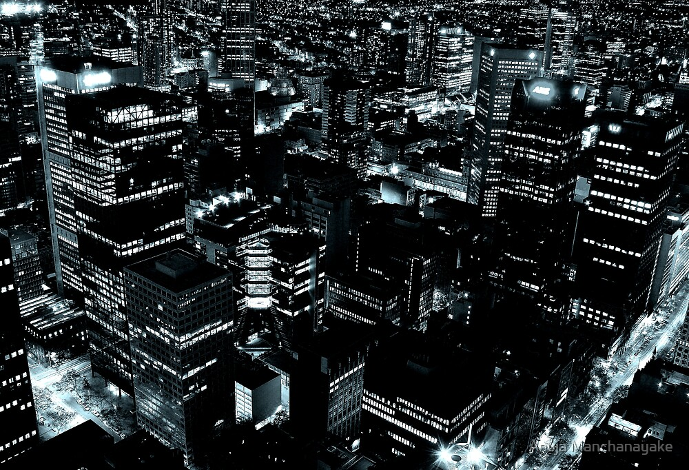 Downtown #3 - Outlining the dark. by Anuja Manchanayake