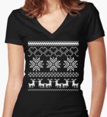 Winter time Black Women's Fitted V-Neck T-Shirt