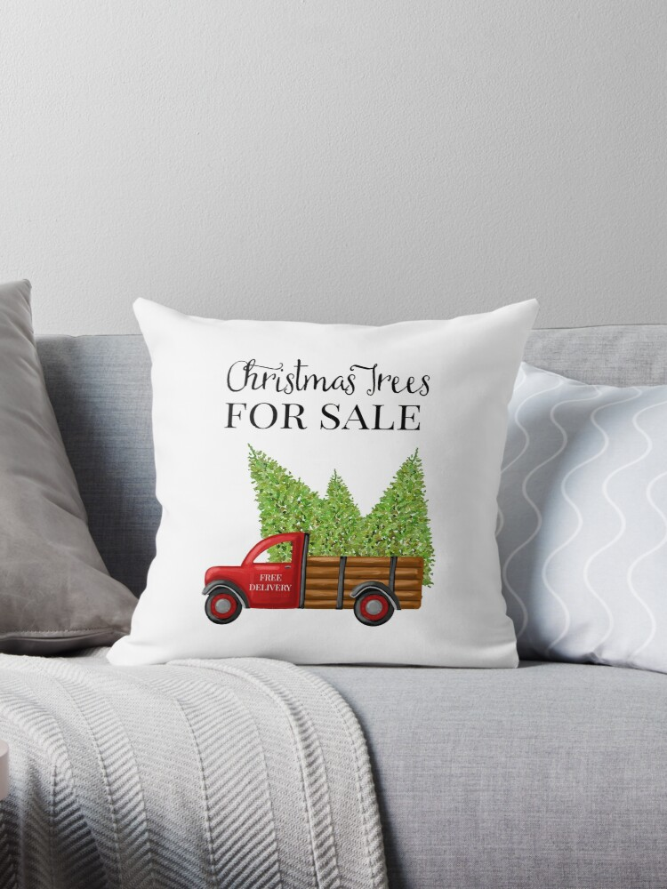 \'Christmas Trees For Sale Red Truck\' Throw Pillow by Ann Drake