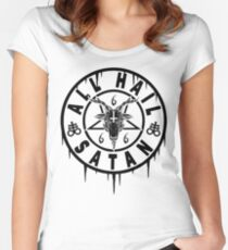 ALL HAIL SATAN - BAPHOMET AND THE OCCULT Women's Fitted Scoop T-Shirt