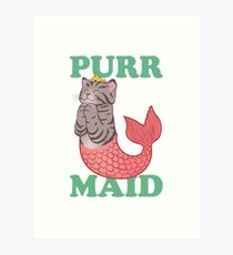 Funny Mermaid Gifts - Purrmaid - Best Cute Gift for Her, Women, Girlfriend, Best Friend, Wife, Daughter, Mom or Sister Art Print