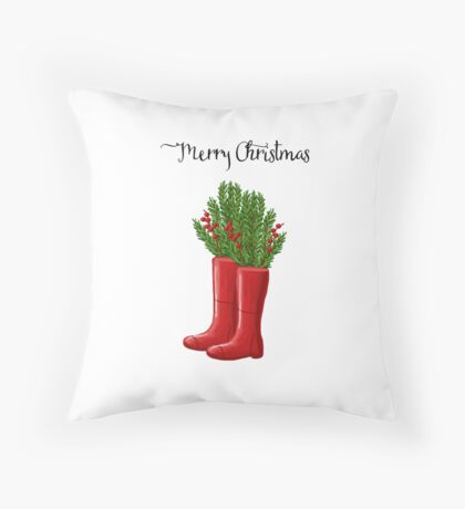 Merry Christmas Red Rain Boots with Greenery & Berries Throw Pillow