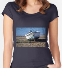 Boat at Low Tide, Exmouth,Devon UK Women's Fitted Scoop T-Shirt