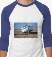 Boat at Low Tide, Exmouth,Devon UK Men's Baseball ¾ T-Shirt